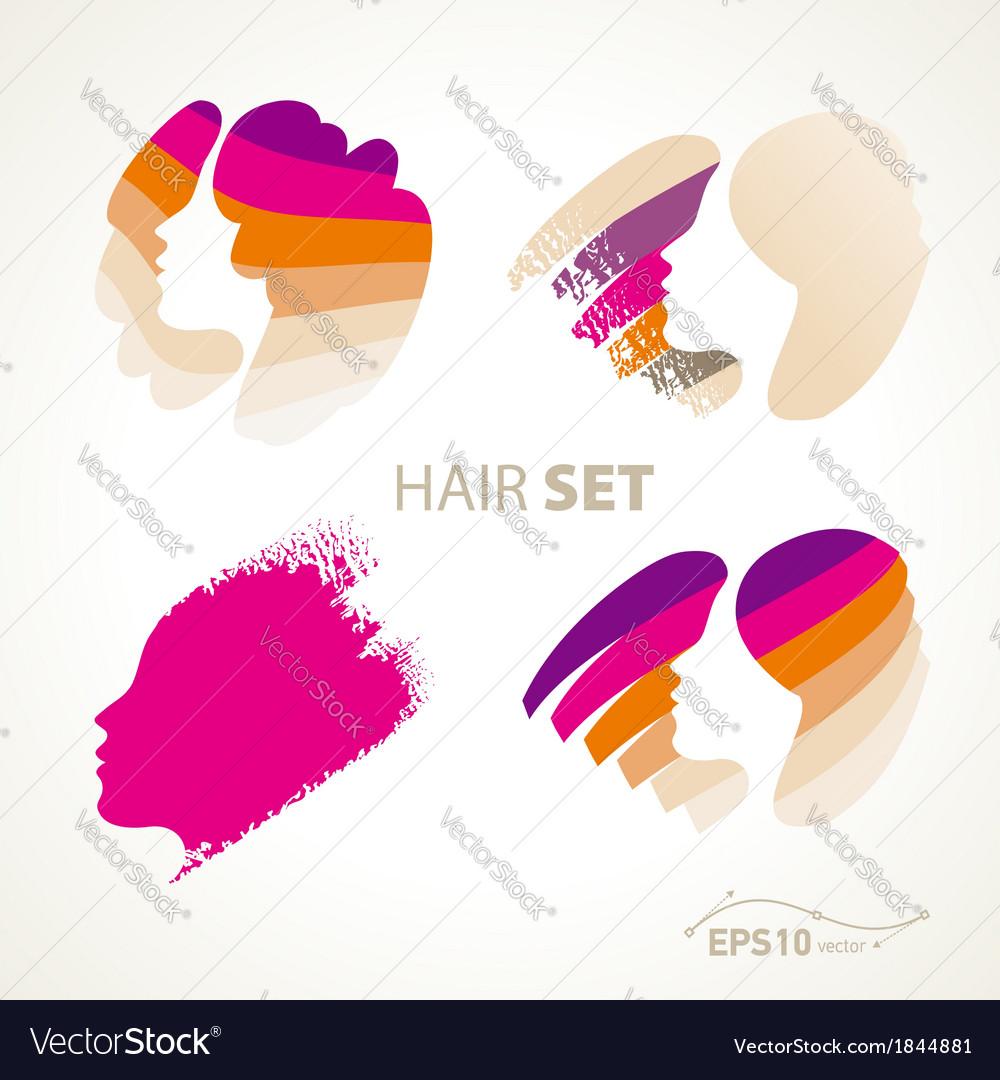Hair emblem sign set