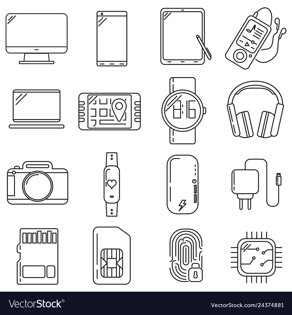 Icons on the subject of technology set