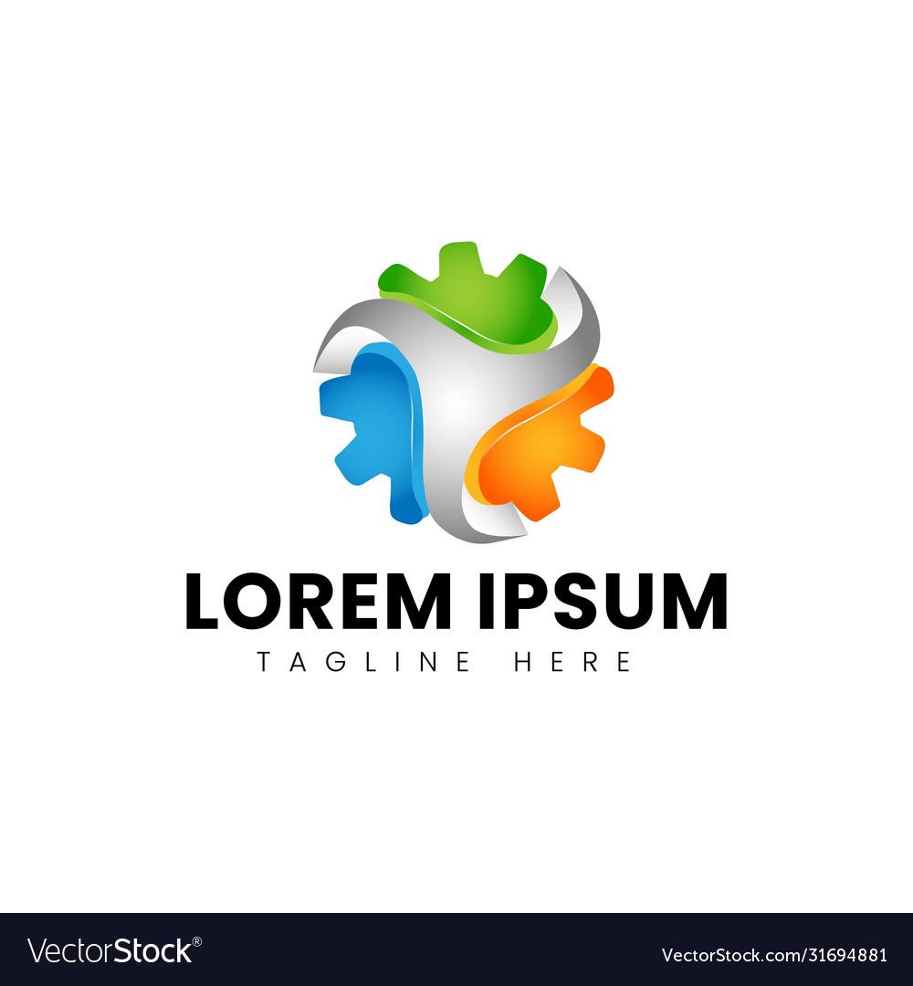 Modern 3d Auto Repair Company Logo Design Vector Image
