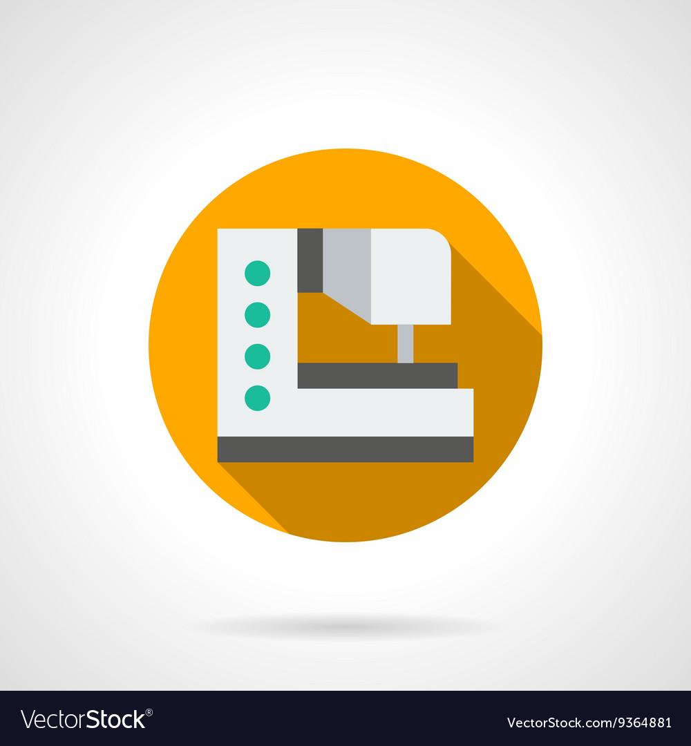 Modern sewing machine round flat icon vector image