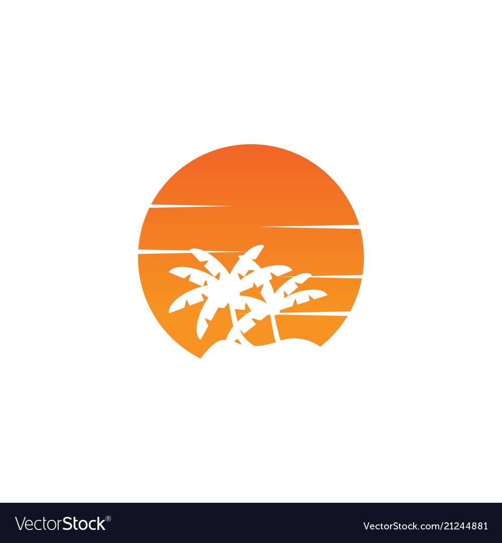 Negative space circle palm tree and orange sun