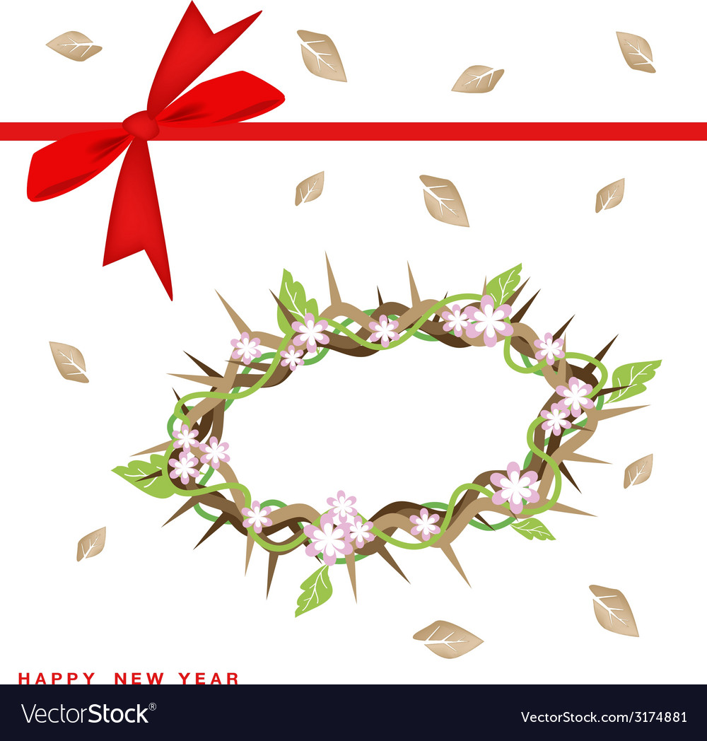 new year gift card with crown of thorns vector image