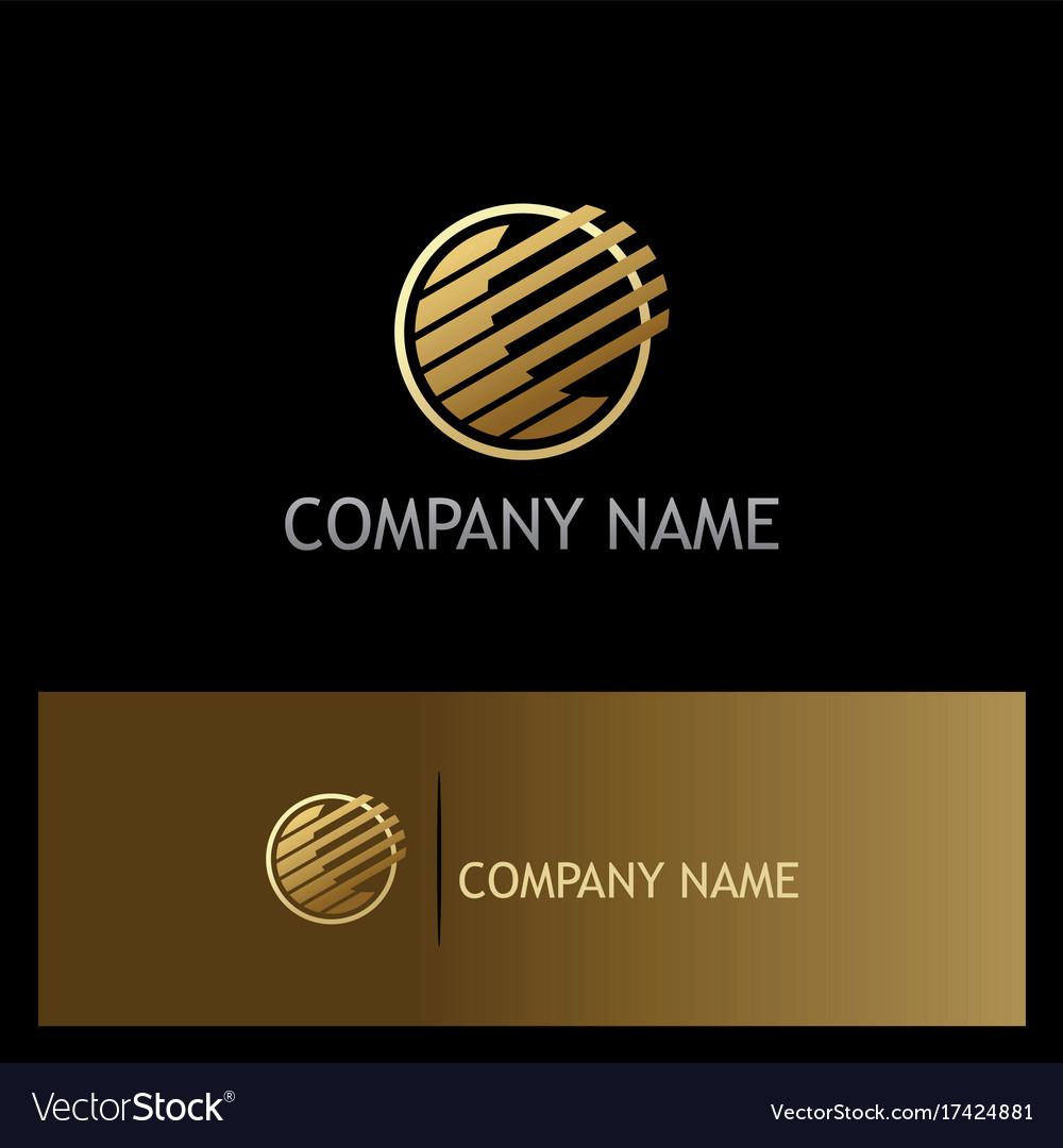 Round stripe technology gold logo