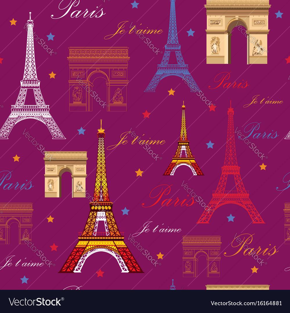 Seamless pattern with landmarks of paris