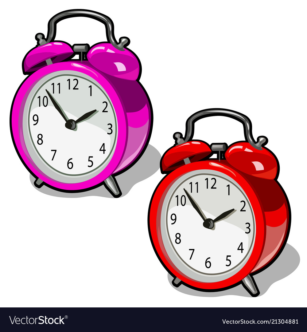 Set of cute vintage alarm clock pink and red color