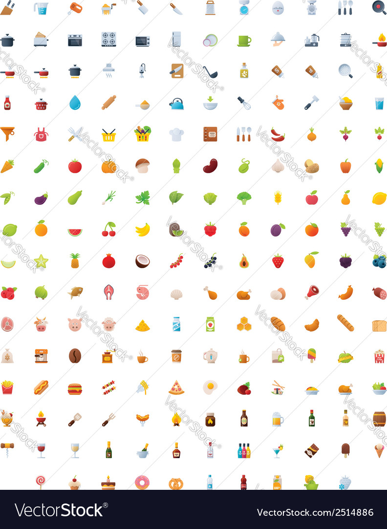 Big food drinks and cooking icon set