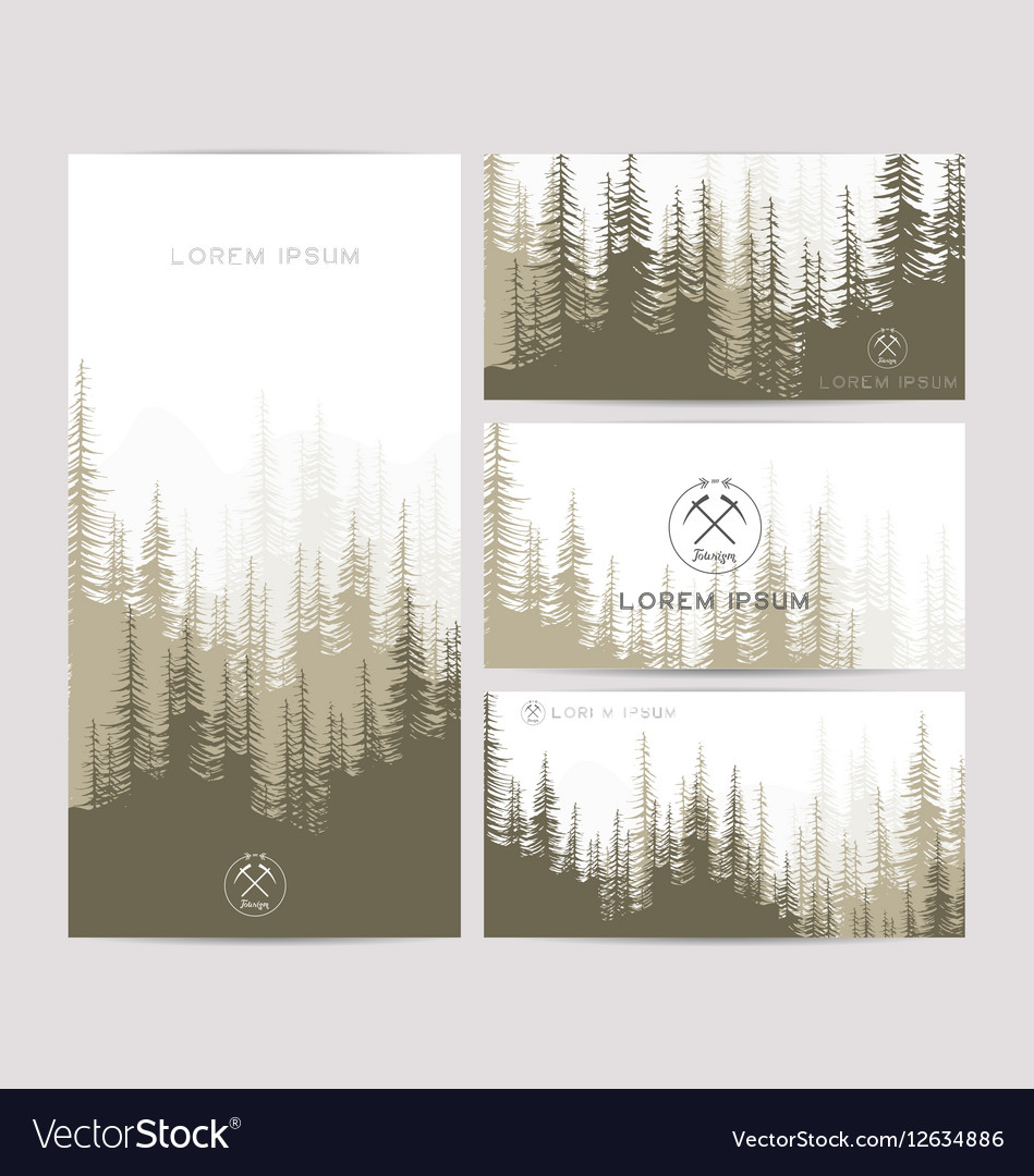 Business cards design set of brown forest and