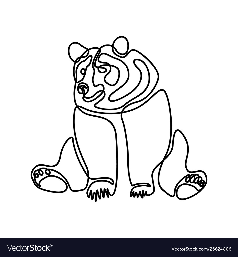 Continuous one line sitting bear
