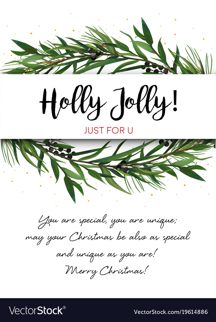 Christmas Greenery Vector.Greeting Card Invite With Pine Tree Greenery