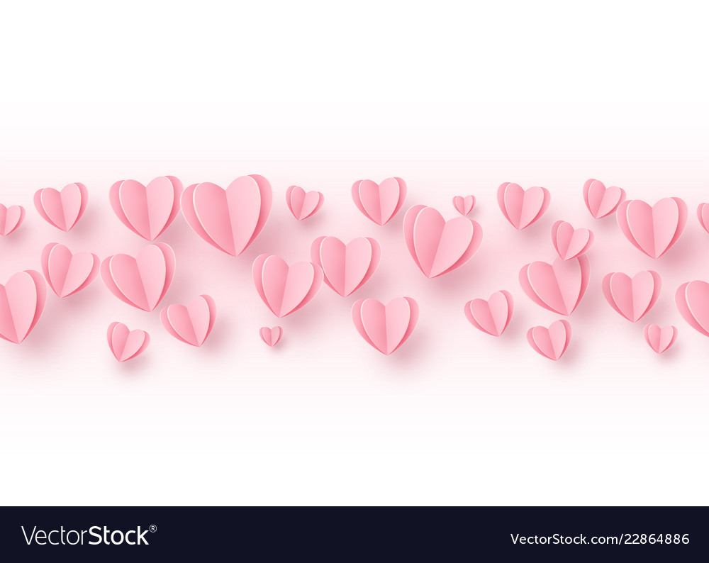 Heart seamless line border background with light