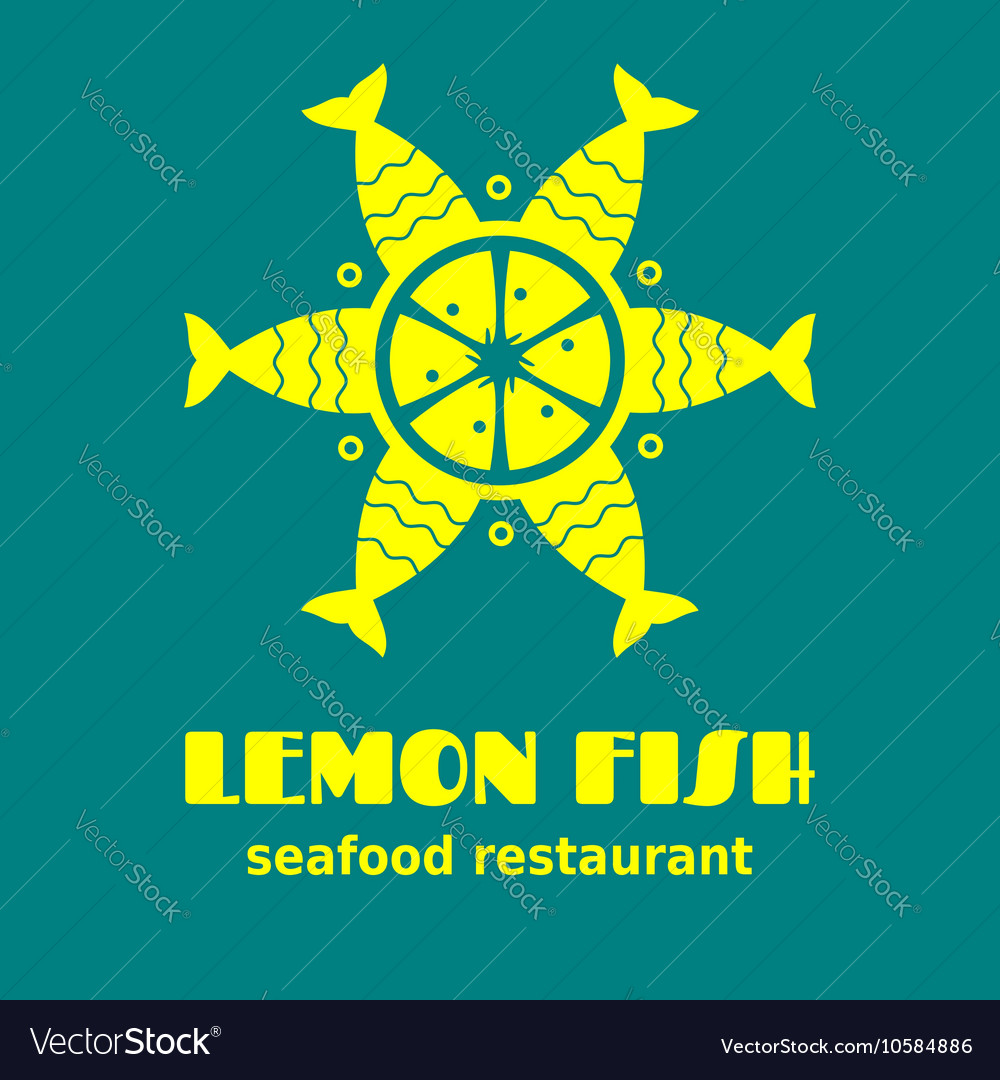 Lemon made from fish icon sign or logo