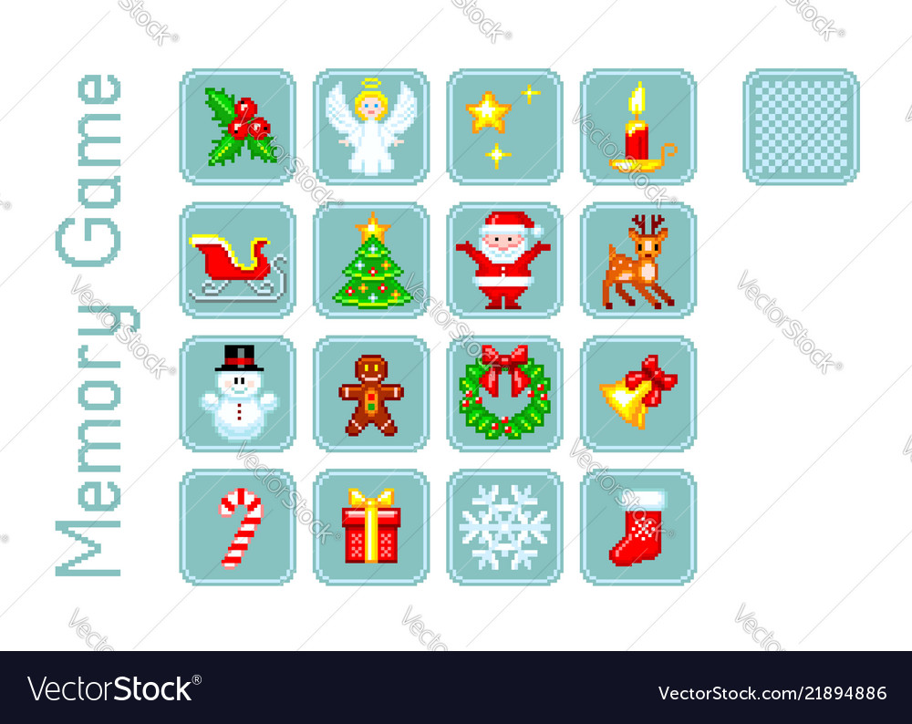 Memory game with christmas elements pixel-art