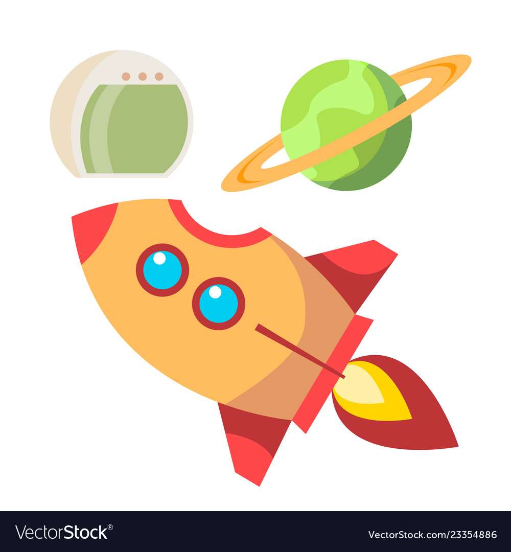 Rocket space icons spaceship and planet