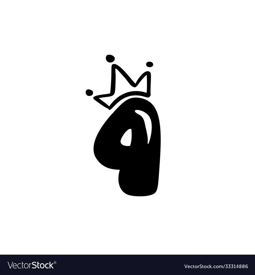 Vintage plump cute number 4 with crown