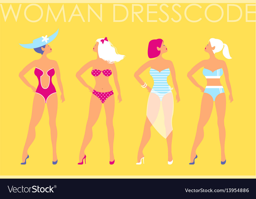 5f83402b21 Women in swimsuit of different types on a yellow Vector Image