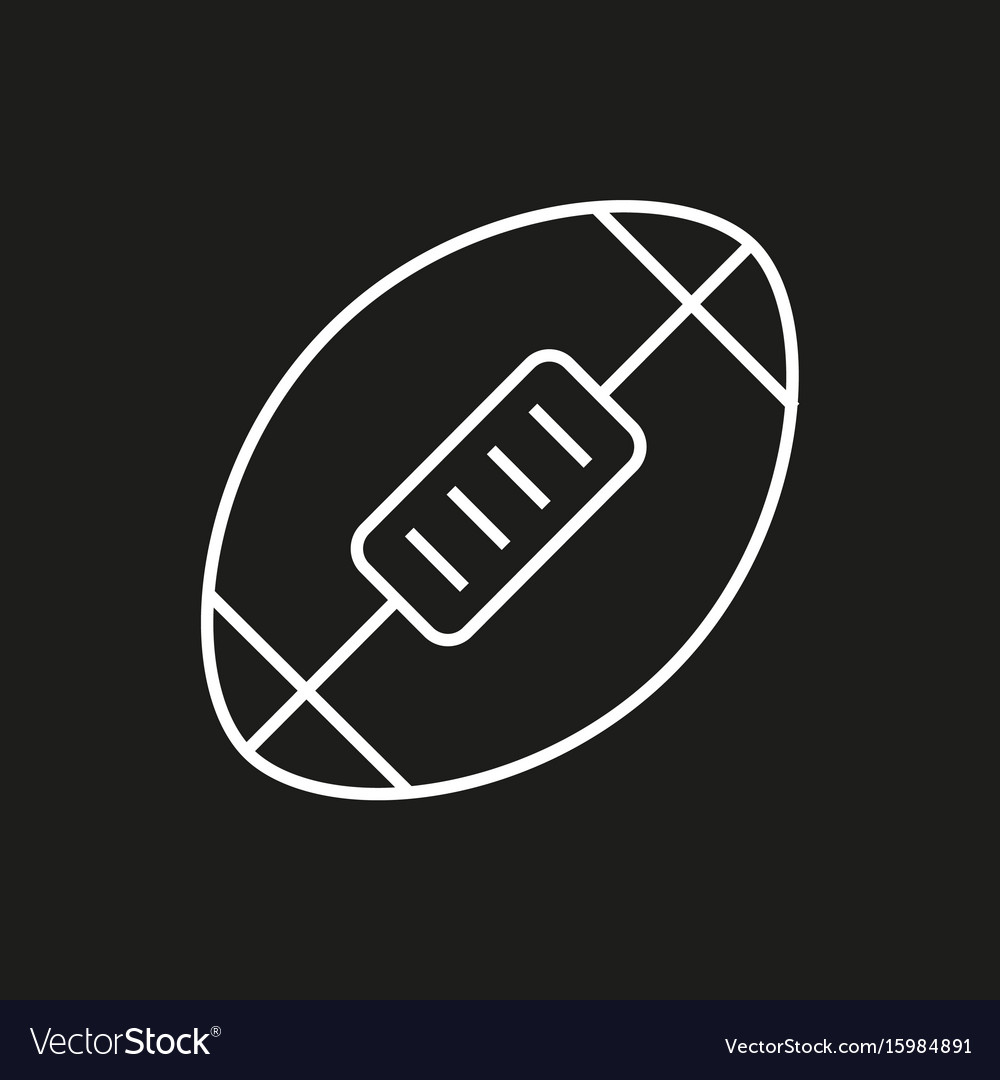 American football ball icon on black background