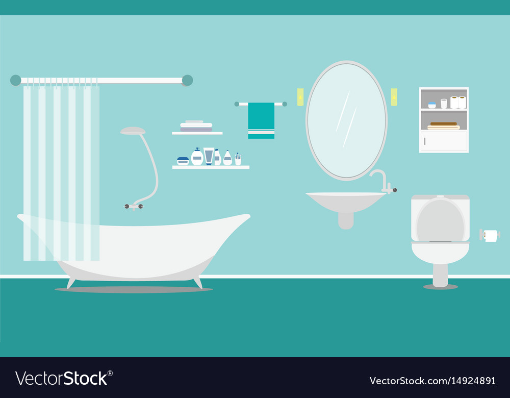 Bathroom with furniture interior on background