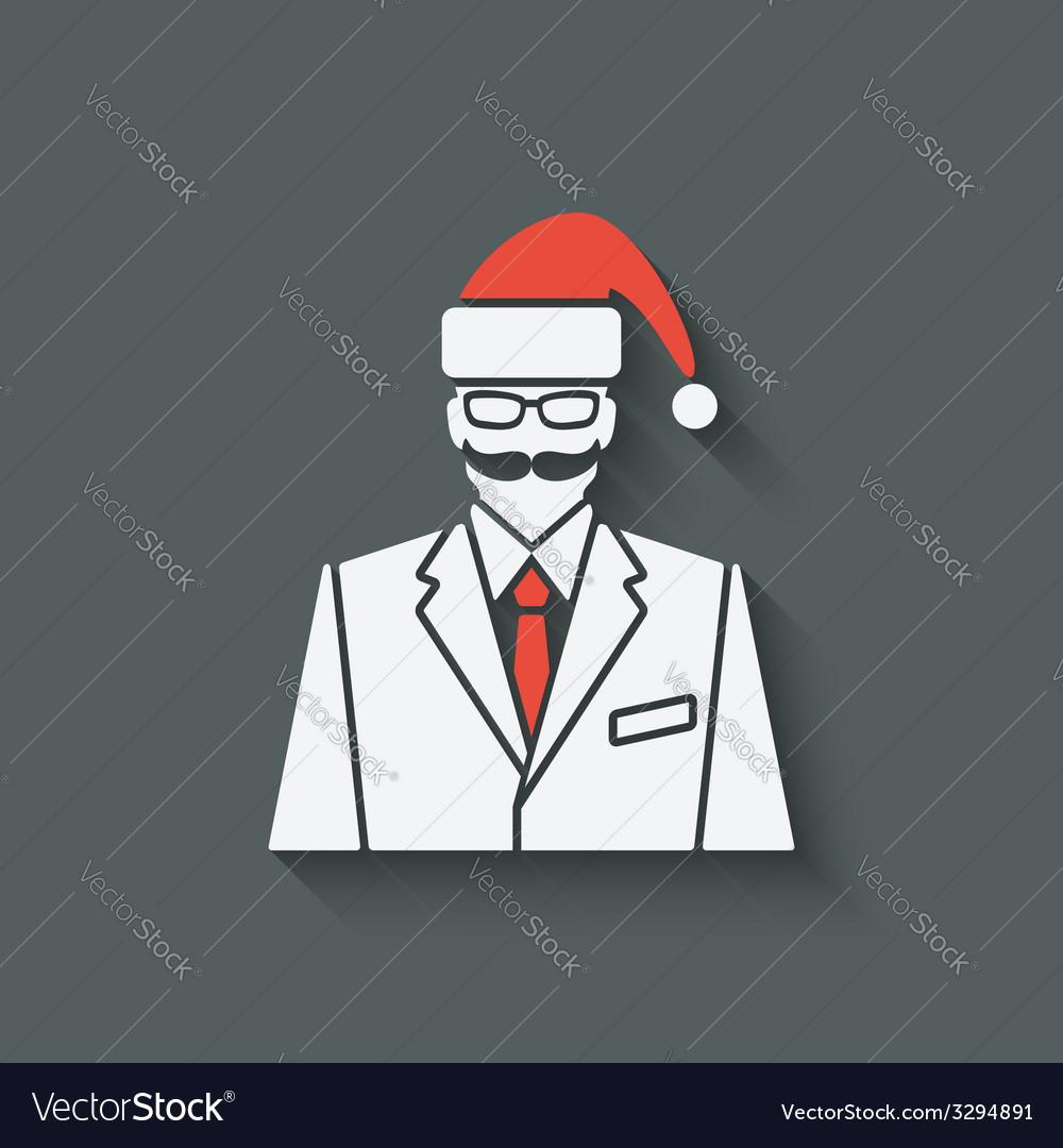 Businessman in Santa Clause hat vector image