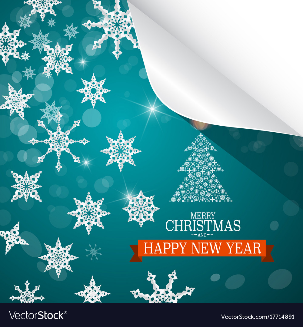 Christmas card paper cut snowflakes on blue vector image