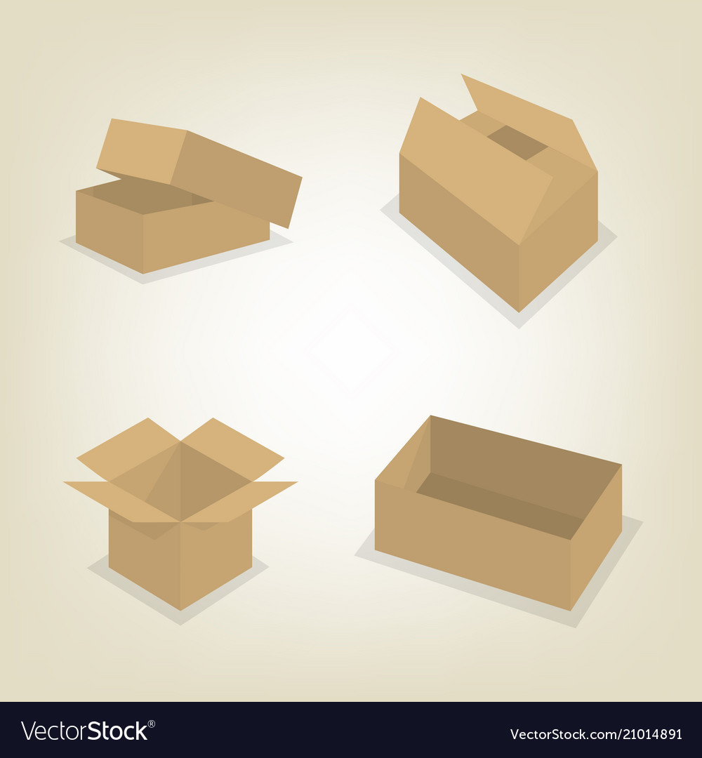 Flat icons of cardboard boxes vector image