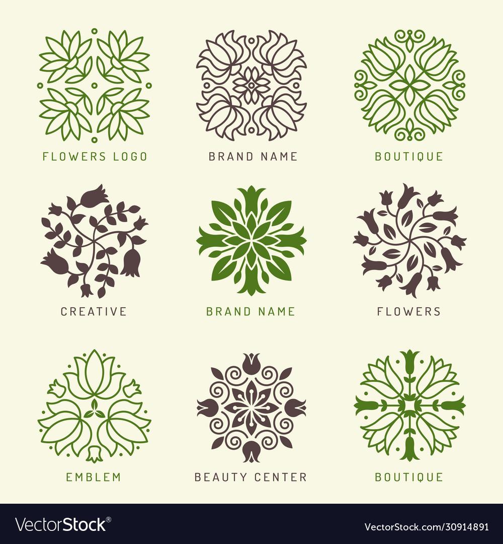 Floral logo botanical stylized elements