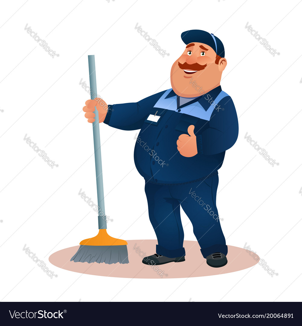 Funny cartoon janitor with mop smiling fat man