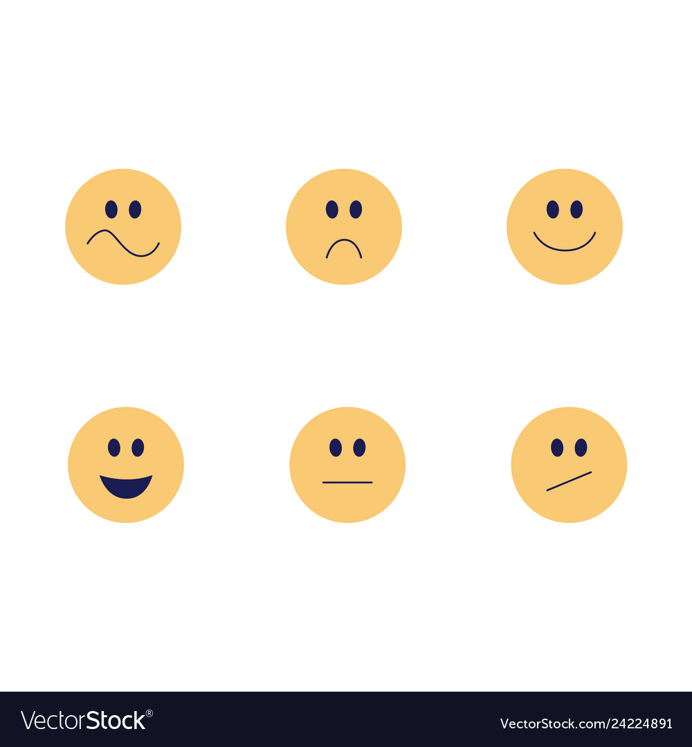 Funny emoji smiles flat icon set