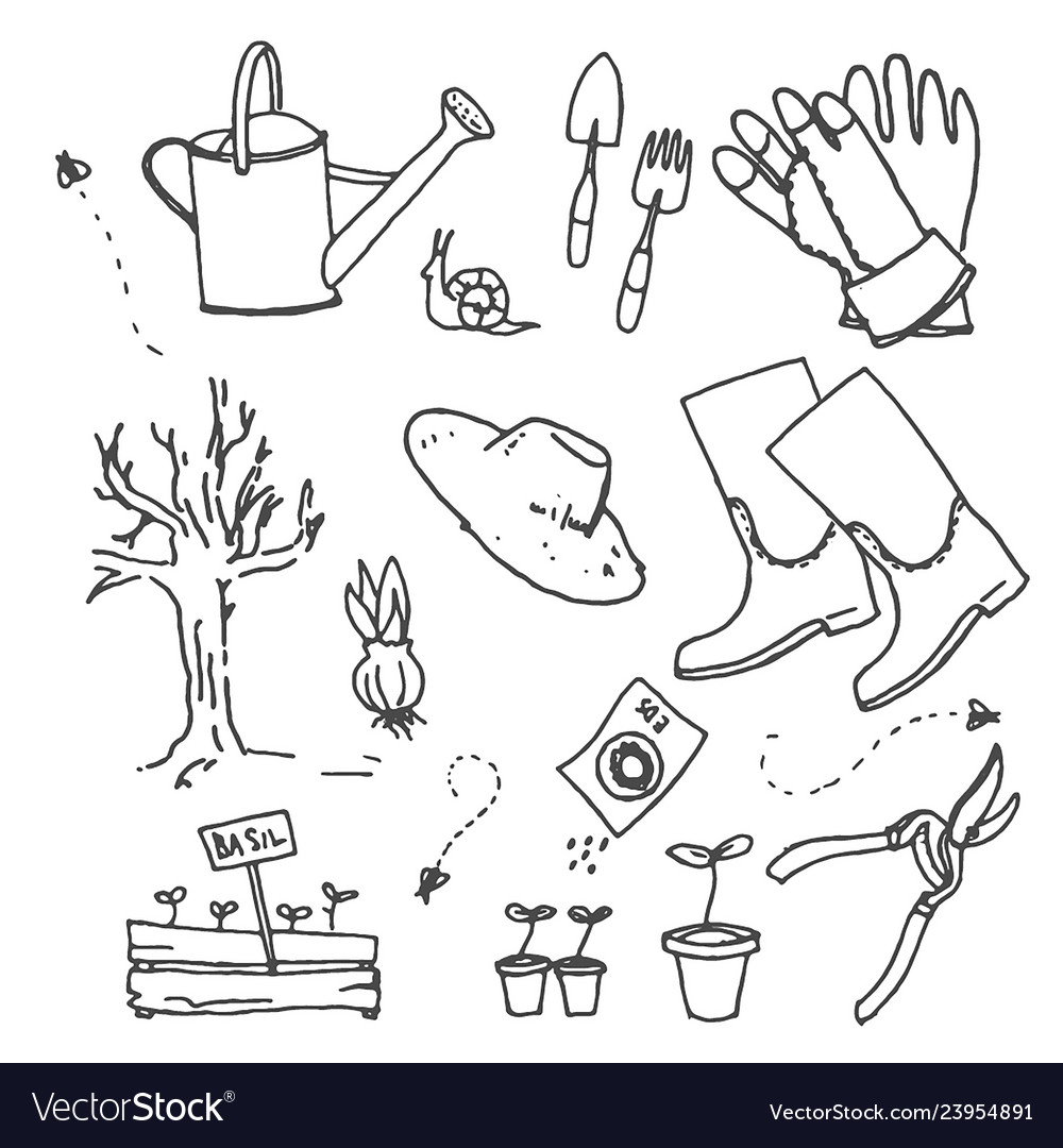 Hand drawn sketch of gardening