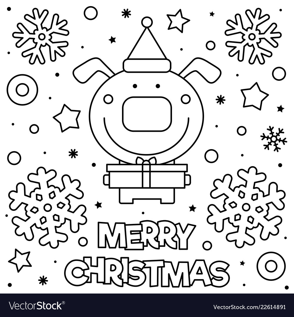 Merry Christmas Coloring Pages.Merry Christmas Coloring Page Black And White