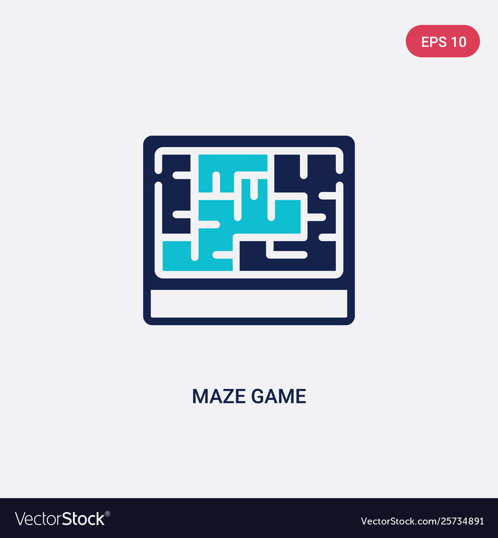 Two color maze game icon from business concept