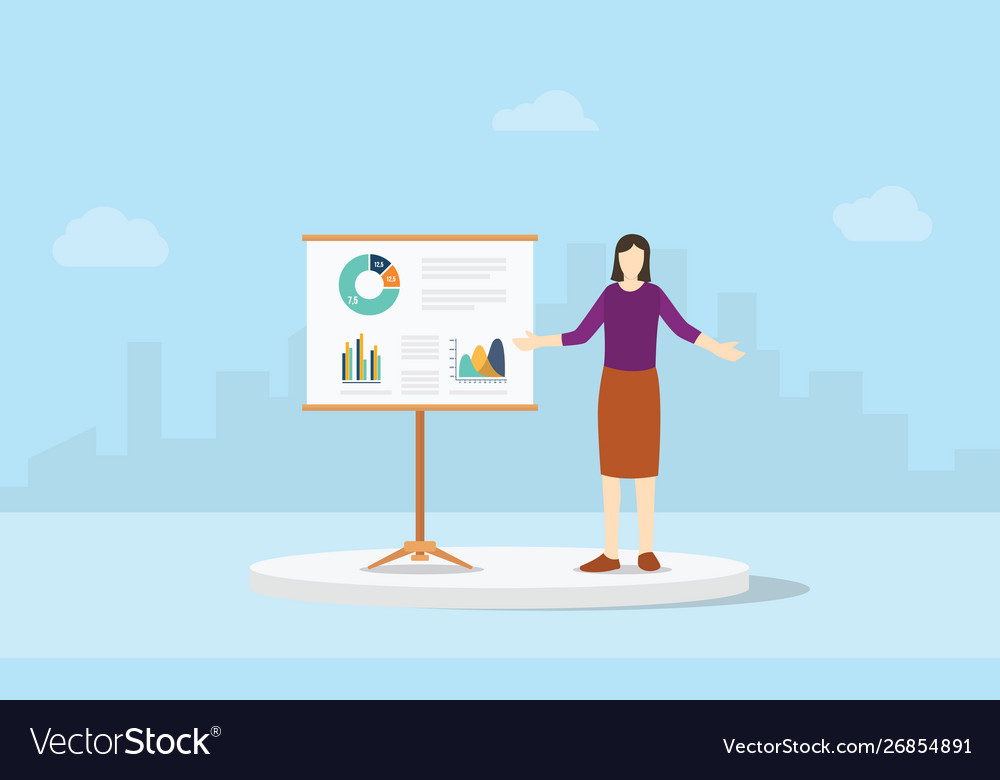 Woman business presentation report with some
