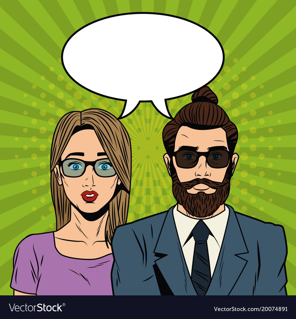 woman with hipster couple pop art cartoon vector image