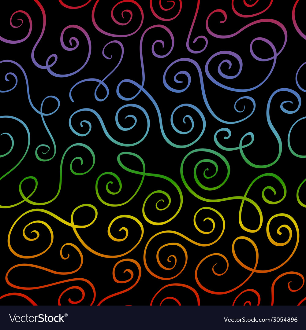 Abstract rainbow color swirls on black background vector image