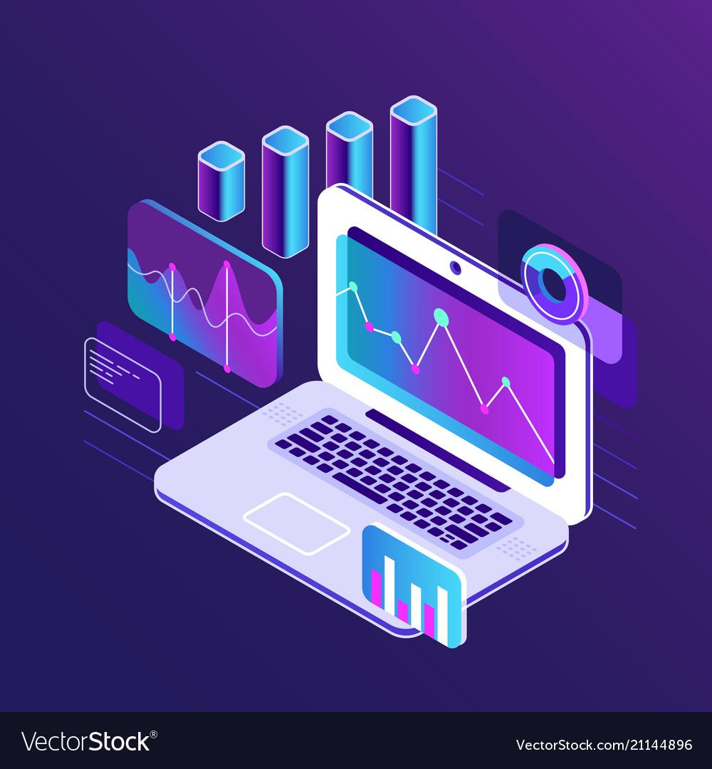 Finance market analysis isometric 3d charts