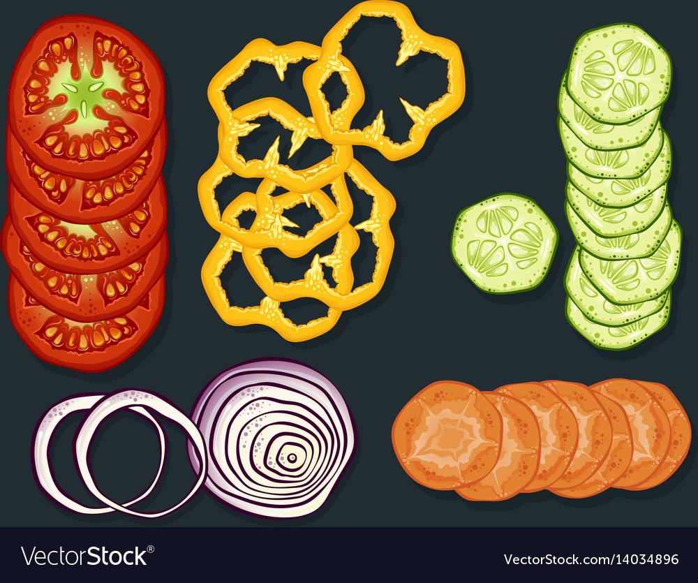 Fresh cutting vegetables set