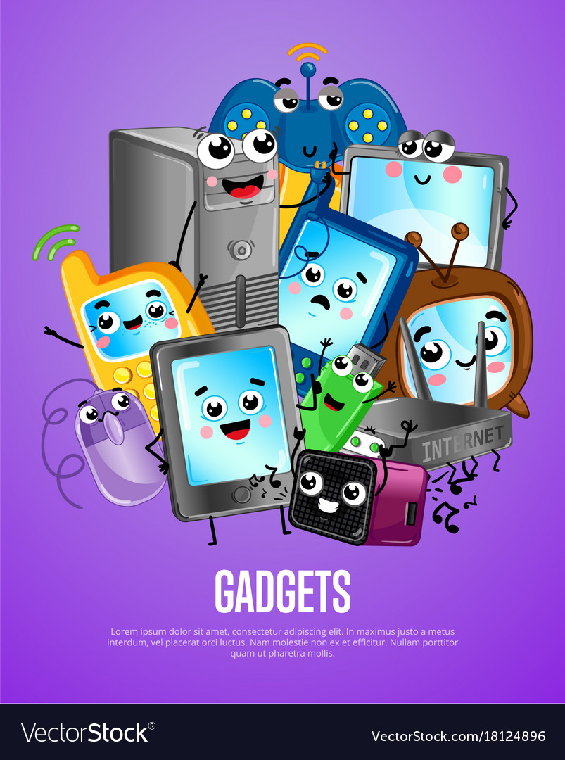 Funny computer gadgets cartoon poster