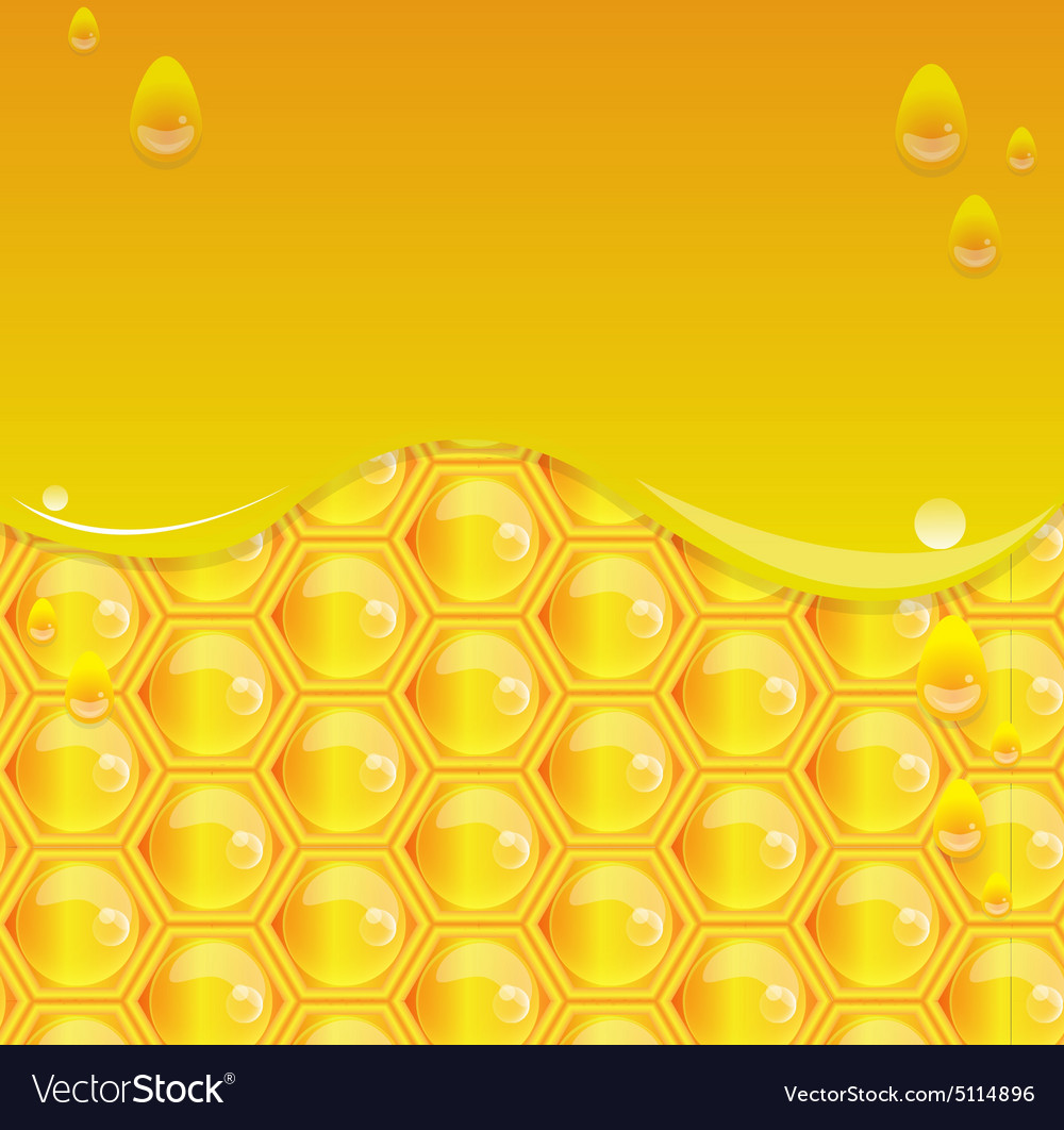 Glossy yellow background with honeycomb2 vector image