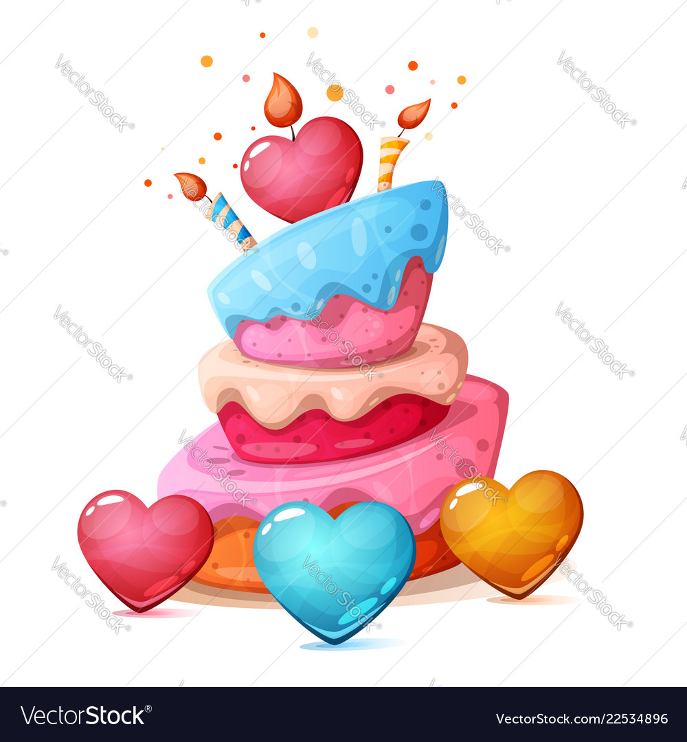 Happy Birthday Heart Cake Royalty Free Vector Image