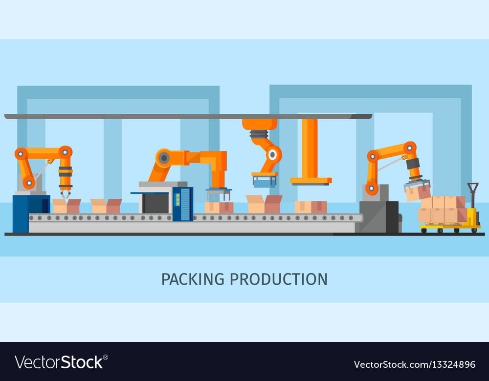 Industrial packing system process template vector image
