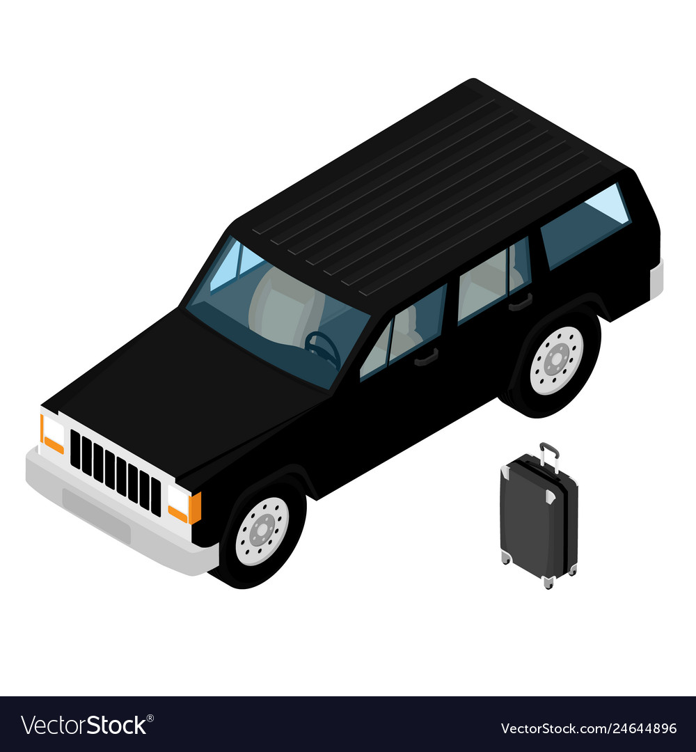Isometric black jeep car and traveling luggage
