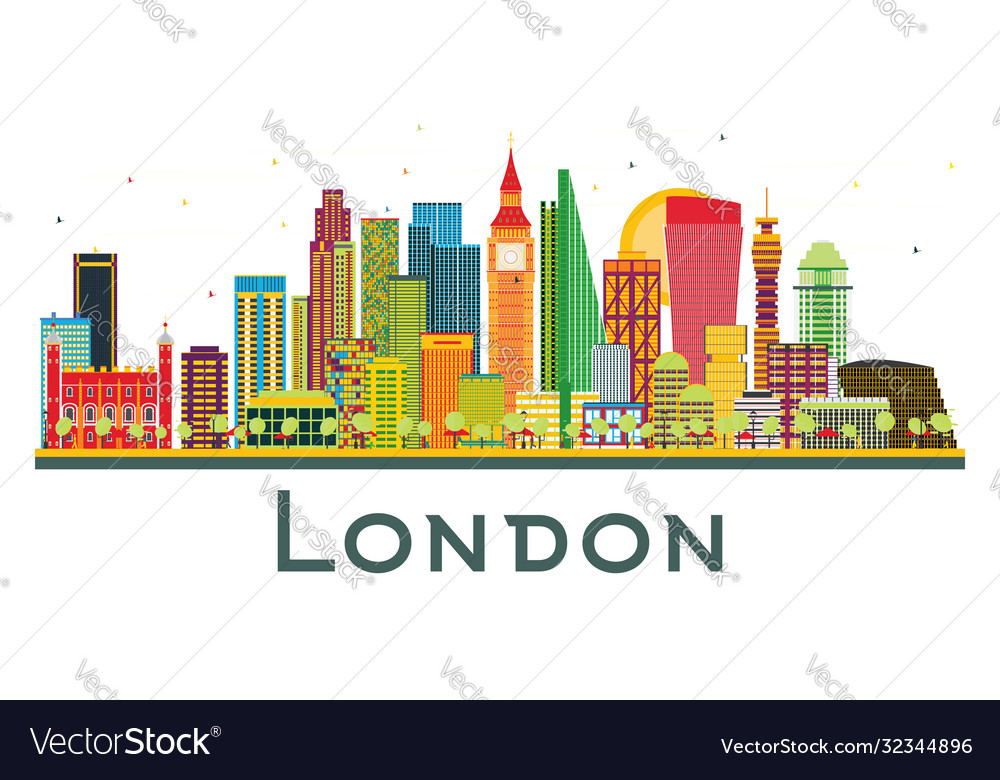 London england city skyline with color buildings