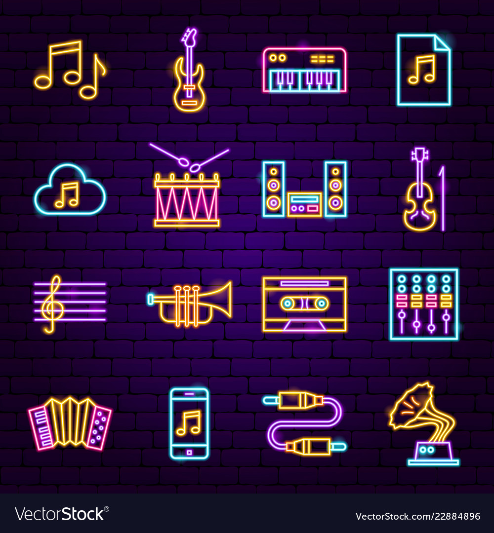 Music audio neon icons