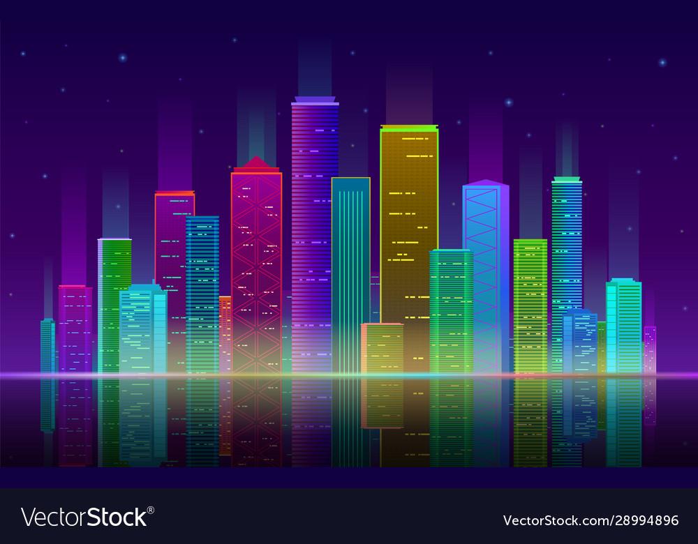 Night city futuristic cityscape with bright and