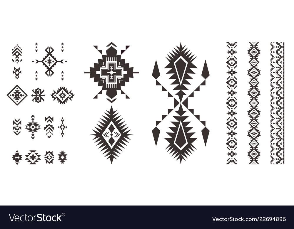Set of decorative tribal elements isolated on