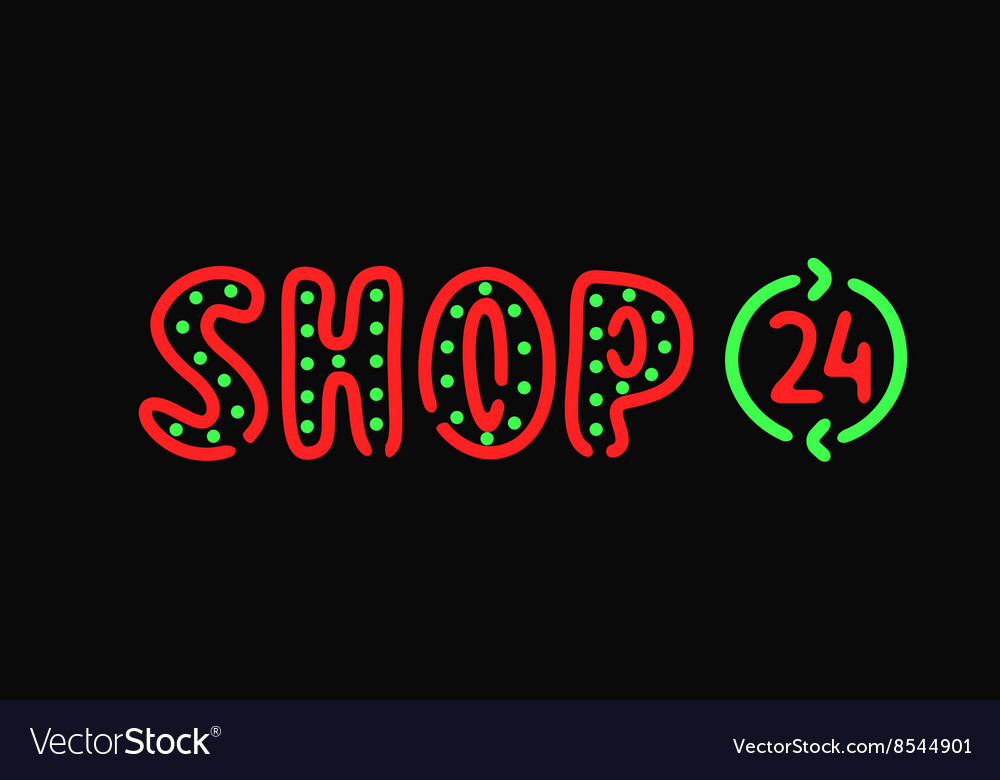 Abstract concept for online shop design store neon