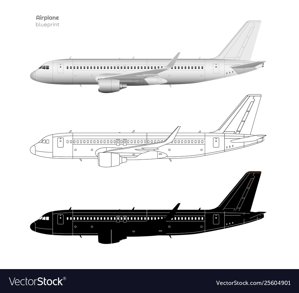 Aircraft in realistic and outline style