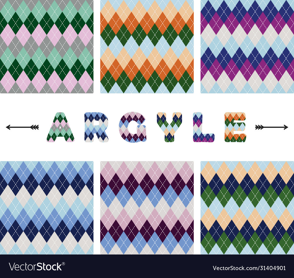 Argyle seamless pattern set textile colorful