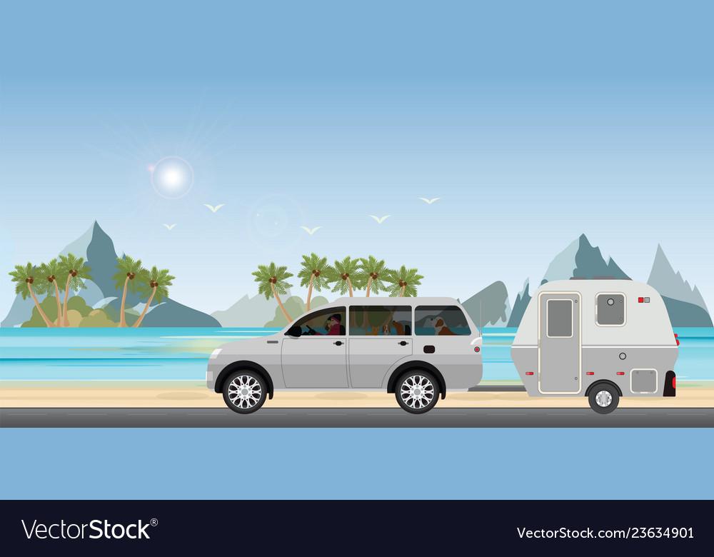 Caravan car driving car on road on the beach1