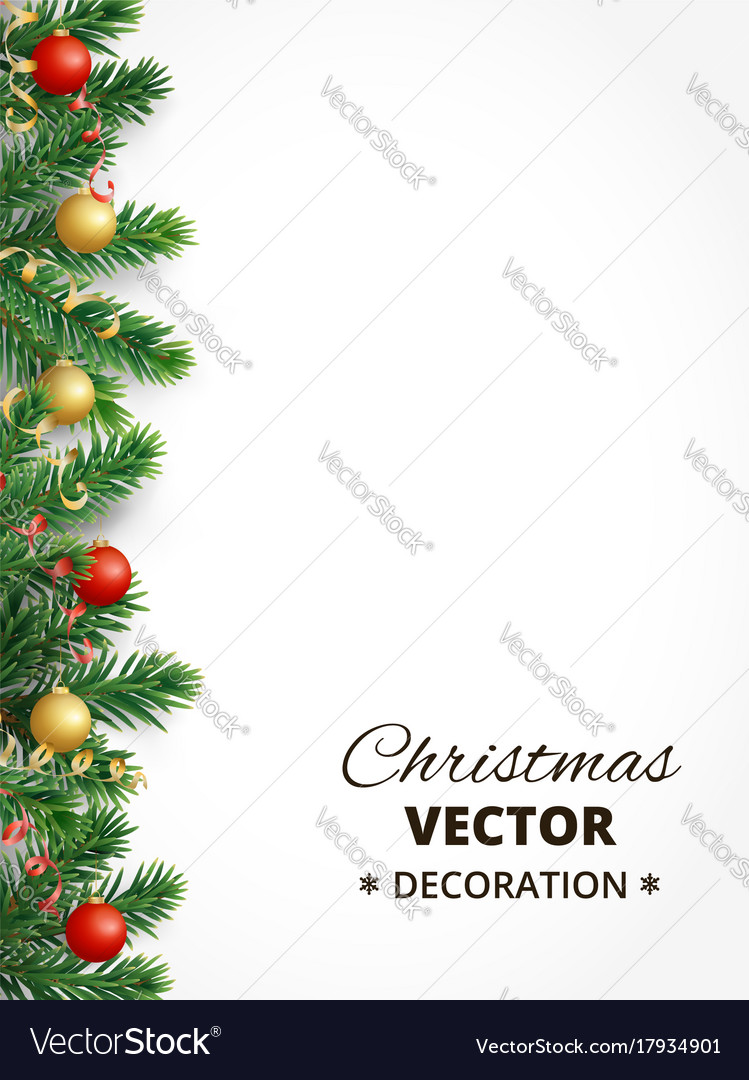 Christmas background with fir tree garland