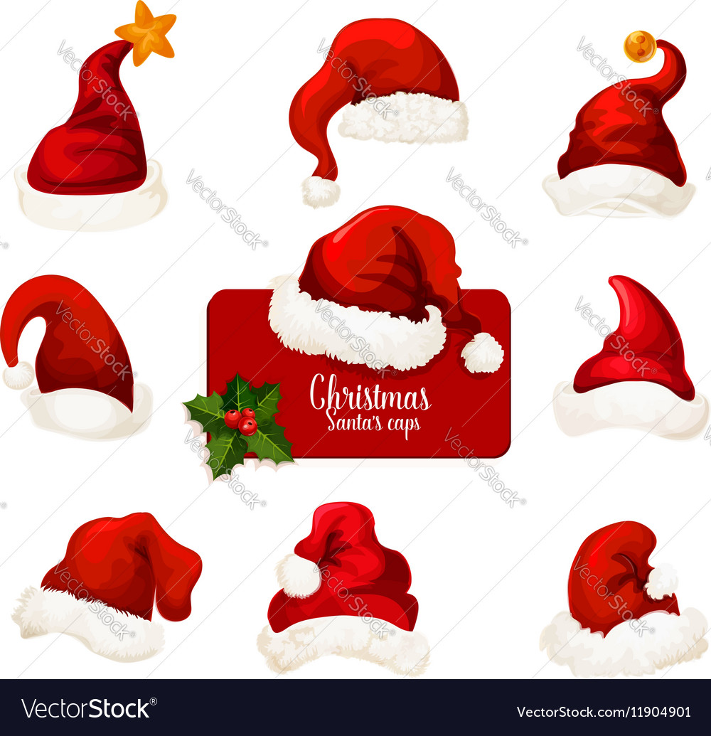 Christmas Santa red hat and cap cartoon icon set